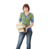 Allievo femminile con i libri Fotografia Stock Libera da Diritti