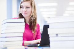Allievo femminile con il computer portatile ed i libri Fotografia Stock