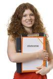 Allievo femminile con il contratto della cartella del employme Fotografia Stock Libera da Diritti
