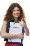 Allievo femminile con il curriculum vitae della cartella Fotografia Stock