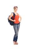 Allievo femminile con il sacchetto di banco Immagine Stock