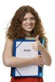 Allievo femminile con il testimonial della cartella Fotografia Stock Libera da Diritti