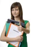 Allievo femminile con l'applicazione Immagine Stock Libera da Diritti