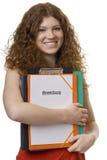 Allievo femminile con l'applicazione della cartella Fotografia Stock Libera da Diritti