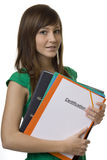 Allievo femminile con la certificazione della cartella Fotografia Stock