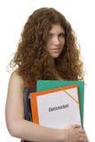 Allievo femminile con la tesi matrice della cartella Fotografie Stock Libere da Diritti