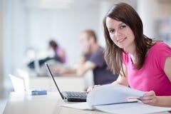 Allievo femminile grazioso con il computer portatile Fotografia Stock Libera da Diritti