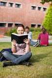 Allievo femminile serio che legge un libro sull'erba Fotografia Stock