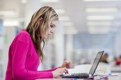 Allievo grazioso e femminile con il computer portatile e libri Immagini Stock