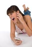 Allievo - l'adolescente femminile felice ascolta musica Fotografia Stock Libera da Diritti