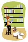 Allievo in libreria royalty illustrazione gratis