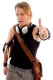 Allievo maschio che mostra i pollici in su Fotografia Stock Libera da Diritti