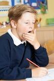 Allievo maschio della scuola elementare che sbadiglia nell'aula Immagine Stock Libera da Diritti