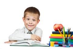 Allievo sveglio del ragazzo con i libri e le matite Immagine Stock