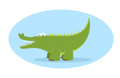 Alligator. Green alligator character in blue background Stock Photo