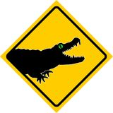 Alligator. Warning Plate of crossing Alligators vector illustration