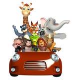 Alligator, apor, björn, elefant, räv, giraff, flodhäst, lejon, noshörning och Z Arkivfoton