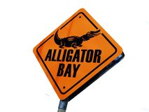 Alligator bay. Yellow warning sign : Alligator bay Royalty Free Stock Photo