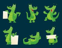 Alligator characters. Wildlife crocodile amphibian reptile animal cartoon mascot poses vector illustration set. Alligator with banner for advertising, placard vector illustration
