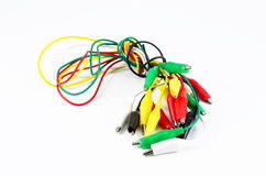Alligator clamp jumper. Cable on white background Stock Photography