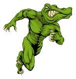 Alligator or crocodile mascot running. An illustration of a scary alligator or crocodile mascot running or charging stock illustration