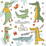 Alligator is cute. Colourful hand drawn set of crocodiles and alligators. Illustration in vector format royalty free illustration