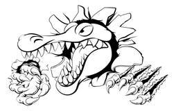 Alligator eller krokodil som slår till och med väggen Arkivbild