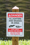 Alligator en Slangwaarschuwingsbord Royalty-vrije Stock Foto