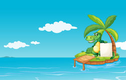 An alligator holding an empty banner Royalty Free Stock Image