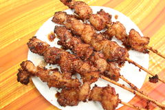 Alligator kabob. Alligator meat deep fried on skewers Royalty Free Stock Photography