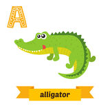 Alligator. A letter. Cute children animal alphabet in vector. Funny cartoon animals. Vector illustration stock illustration