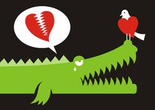 Alligator in love. Alligator expressing his love for bird with crocodile tears Royalty Free Stock Photography