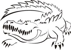Alligator. Outline drawing of alligator in black and white Royalty Free Stock Photo