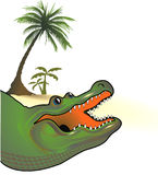 Alligator palm-fringed. Amphibian animal royalty free illustration