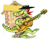 Crocodile  playing guitar Stock Images