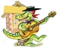 Crocodile  playing guitar. Cartoon Alligator playing guitar Stock Images