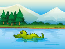 An alligator in the river. Illustration of an alligator in the river Stock Photo