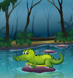 An alligator at the river inside the forest Stock Photos