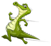 Alligator running vector art. Illustration of a happy cartoon alligator running fast Royalty Free Stock Image
