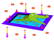 Alligator's enjoyment. An alligator resting in a jacuzzi Royalty Free Stock Photo