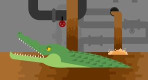 Alligator sewerage. Crocodile in sewer. Predator animal. City le. Gend. Vector illustration Stock Image