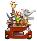 Alligator, singes, ours, éléphant, Fox, girafe, hippopotame, lion, rhinocéros et Z Photos stock