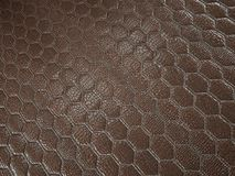 Alligator or snake brown Leather hexagon stitched texture royalty free stock image