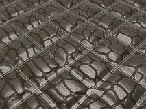 Alligator stitched black skin with square shapes. Useful as texture or background Royalty Free Stock Photos