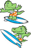 Alligator Surfing Illustration. 2 poses Stock Photos