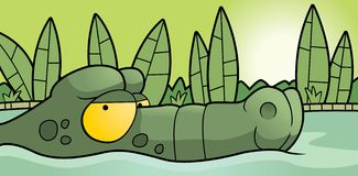 Alligator Swamp. A cartoon alligator swimming in the swamp Royalty Free Stock Photos