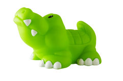 Alligator toy. Children's green toy alligator isolated on the white background. Clipping path included Royalty Free Stock Photo