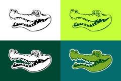 Alligator vector outline silhouettes vector illustration