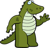 Alligator Waving. A happy cartoon alligator waving and smiling Stock Photos