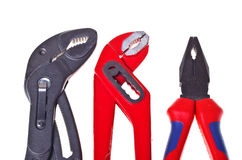 Alligator wrenches and pliers (isolated). Royalty Free Stock Images